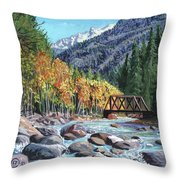 Rail Bridge At Cascade Throw Pillow