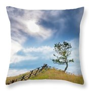 Rail Fence And A Tree Throw Pillow
