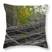 Rail Overgrowth Throw Pillow