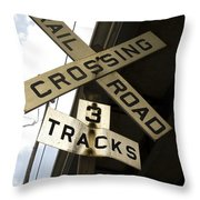 Rail Road Sign Throw Pillow