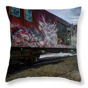Railcar Graffiti Throw Pillow