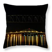 Railroad And Bourne Bridge At Night Cape Cod Throw Pillow