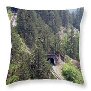Railroad And Tunnels On Mountain Throw Pillow