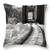 Railroad Bridge In Winter Throw Pillow