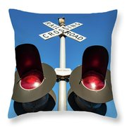 Railroad Crossing Lights Throw Pillow