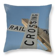 Railroad Crossing Sign Throw Pillow