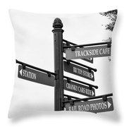 Railroad Directions_bw Throw Pillow