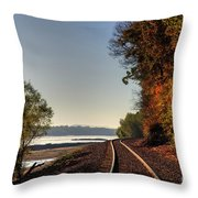 Railroad Track By The Mississippi  Throw Pillow