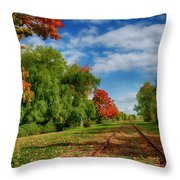 Railroad Tracks At Grand-pre National Historic Site Throw Pillow