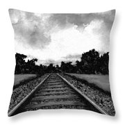 Railroad Tracks - Charcoal Throw Pillow