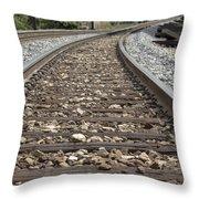 Railroad Tracks Throw Pillow by Danielle Allard
