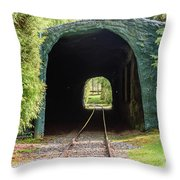 The Railway Passing Through The Tunnel To Meet The Light Throw Pillow