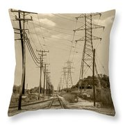 Rails And Wires Throw Pillow