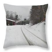 Rails In Snow Throw Pillow