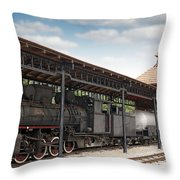 Railway Station With Old Steam Locomotive Throw Pillow