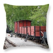 Railway Station With Old Wagons Throw Pillow