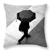 Running In The Rain Throw Pillow