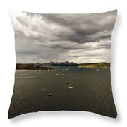 Rain Arrives Before Tall Ships Throw Pillow