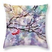 Rain Berries Throw Pillow