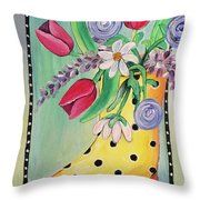 Rain Boots And Flowers Throw Pillow