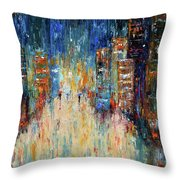 Rain Dance Blues Throw Pillow