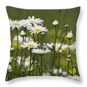 Rain Drops On Daisies Throw Pillow