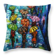 Rain Fantasy Acrylic Painting  Throw Pillow