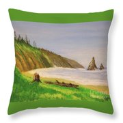 Rain Forest Meets The Sea Throw Pillow