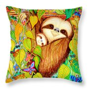 Rain Forest Survival Mother And Baby Three Toed Sloth Throw Pillow