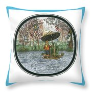 Rain Gnome Rain Circle Throw Pillow