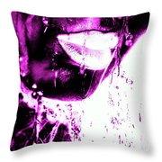 Rain Hot Pink Throw Pillow
