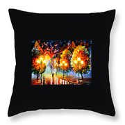Rain In The Night City Throw Pillow