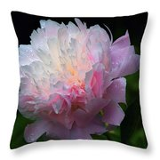 Rain-kissed Peony Throw Pillow