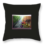 Rain Nature And Street  Throw Pillow