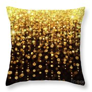 Rain Of Lights Christmas Or Party Background Throw Pillow