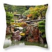 Rain On Kyoto Garden Throw Pillow