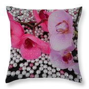 Rain On Orchids Throw Pillow