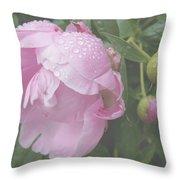 Rain On Peony Throw Pillow