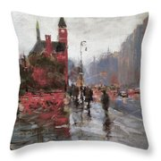 Rain On Sixth Avenue Throw Pillow