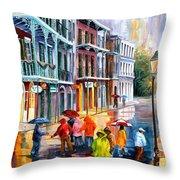 Rain On St. Peter Street Throw Pillow