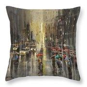 Rain On Wisconsin Avenue Throw Pillow