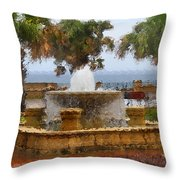 Rain Soaked Fountain Throw Pillow