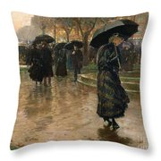 Rain Storm Union Square Throw Pillow by Childe Hassam