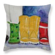 Rainboots Throw Pillow