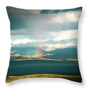 Rainbow Above Lake Manasarovar Kailash Yantra.lv Throw Pillow