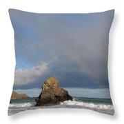 Rainbow Above Sango Bay Sea Stack Throw Pillow