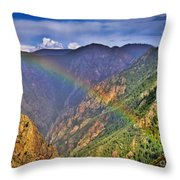 Rainbow Across Canyon Throw Pillow