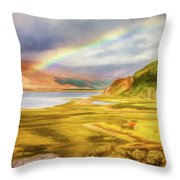 Painted Effect - Rainbow Across The Valley Throw Pillow by Susan Leonard
