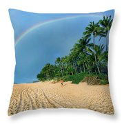Rainbow At Pipeline, North Shore,  Throw Pillow