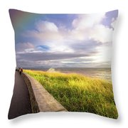 Rainbow At  Seaside Throw Pillow